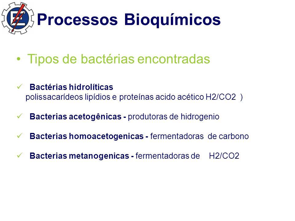 Processos Bioquímicos Tipos de bactérias encontradas Bactérias hidrolíticas polissacarídeos lipídios e proteínas acido acético H2/CO2 ) Bacterias acetogênicas - produtoras de hidrogenio Bacterias homoacetogenicas - fermentadoras de carbono Bacterias metanogenicas - fermentadoras de H2/CO2
