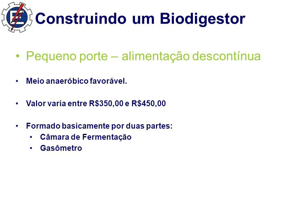 Construindo um Biodigestor Pequeno porte – alimentação descontínua Meio anaeróbico favorável.