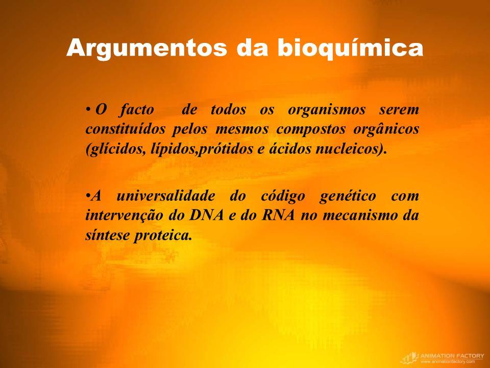 Argumentos da bioquímica O facto de todos os organismos serem constituídos pelos mesmos compostos orgânicos (glícidos, lípidos,prótidos e ácidos nucleicos).