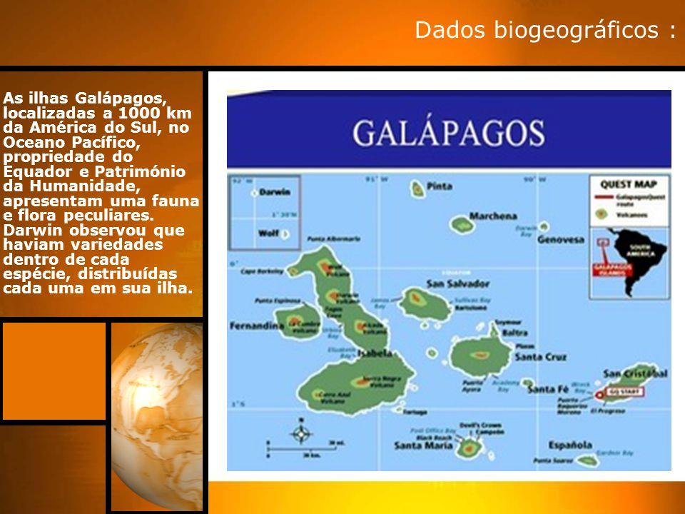 Dados biogeográficos : As ilhas Galápagos, localizadas a 1000 km da América do Sul, no Oceano Pacífico, propriedade do Equador e Património da Humanidade, apresentam uma fauna e flora peculiares.