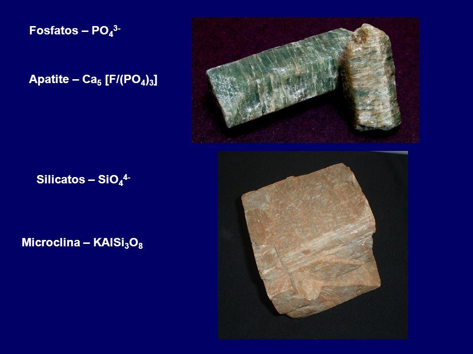 Fosfatos – PO 4 3- Apatite – Ca 5 [F/(PO 4 ) 3 ] Silicatos – SiO 4 4- Microclina – KAlSi 3 O 8