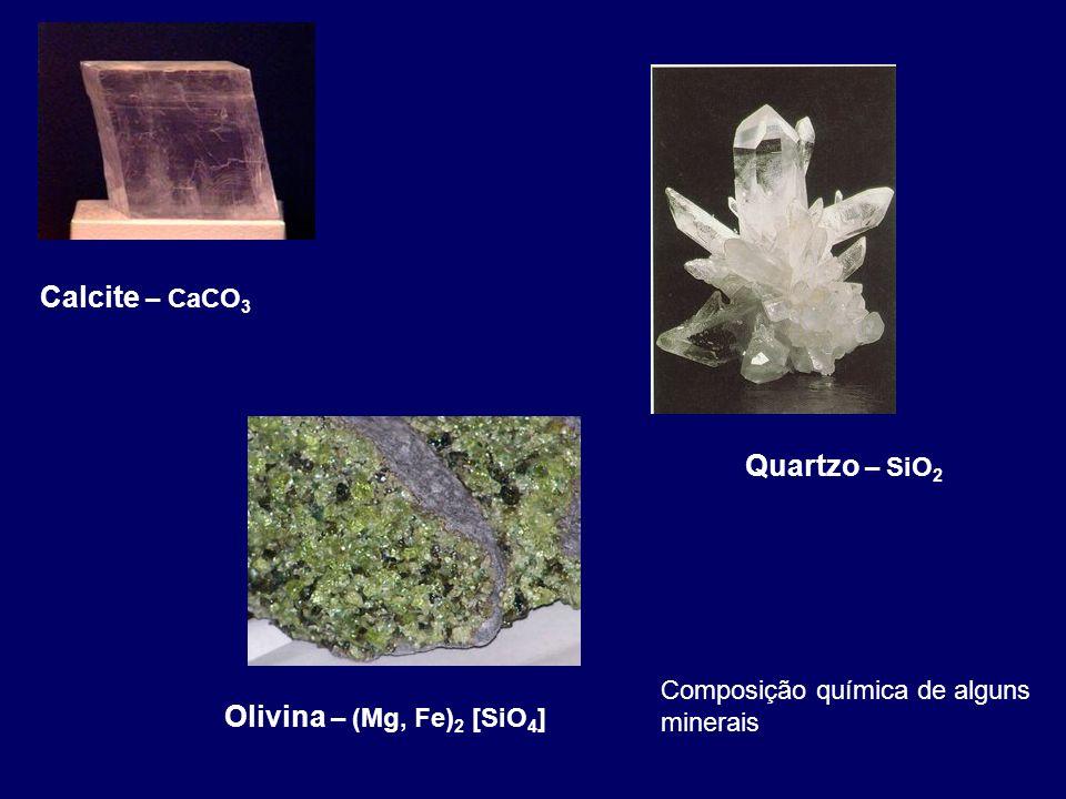 Calcite – CaCO 3 Quartzo – SiO 2 Olivina – (Mg, Fe) 2 [SiO 4 ] Composição química de alguns minerais