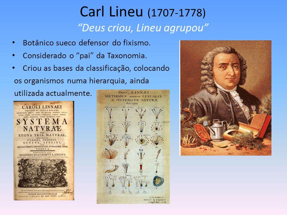 Carl Lineu (1707-1778) Deus criou, Lineu agrupou Botânico sueco defensor do fixismo. Considerado o pai da Taxonomia. Criou as bases da classificação,