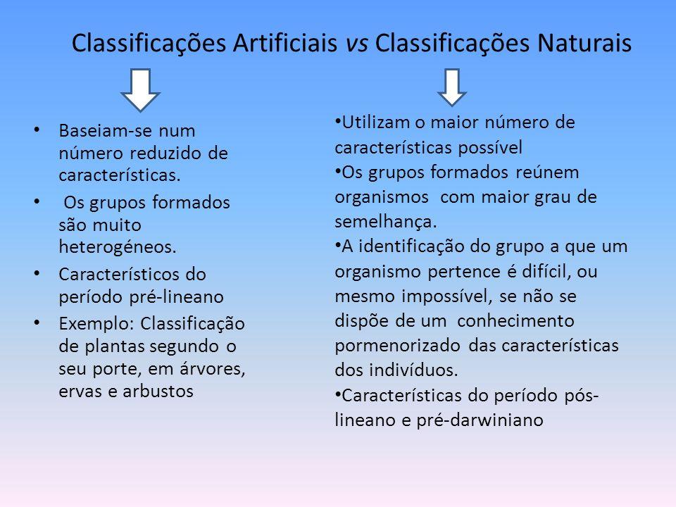 Classificações Artificiais vs Classificações Naturais Baseiam-se num número reduzido de características. Os grupos formados são muito heterogéneos. Ca