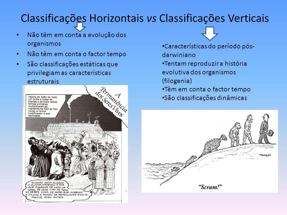 Classificações Horizontais vs Classificações Verticais Não têm em conta a evolução dos organismos Não têm em conta o factor tempo São classificações e