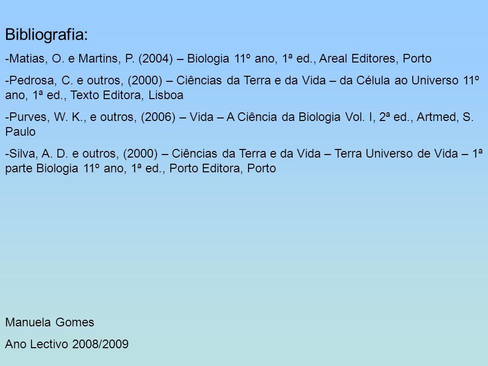 Bibliografia: -Matias, O. e Martins, P. (2004) – Biologia 11º ano, 1ª ed., Areal Editores, Porto -Pedrosa, C. e outros, (2000) – Ciências da Terra e d