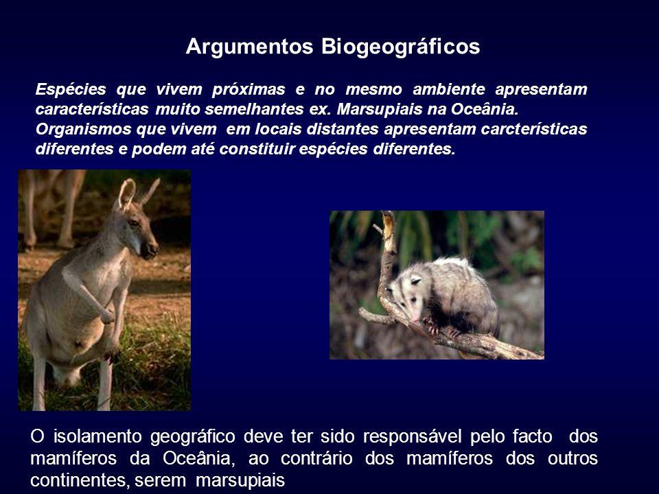 Argumentos Biogeográficos Espécies que vivem próximas e no mesmo ambiente apresentam características muito semelhantes ex. Marsupiais na Oceânia. Orga