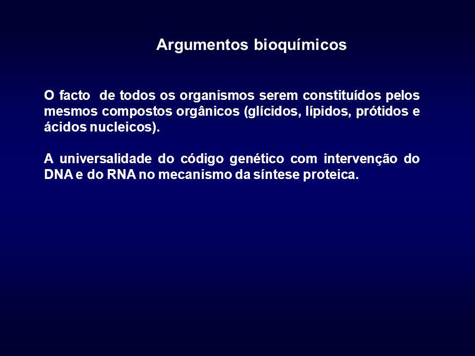 O facto de todos os organismos serem constituídos pelos mesmos compostos orgânicos (glícidos, lípidos, prótidos e ácidos nucleicos). A universalidade