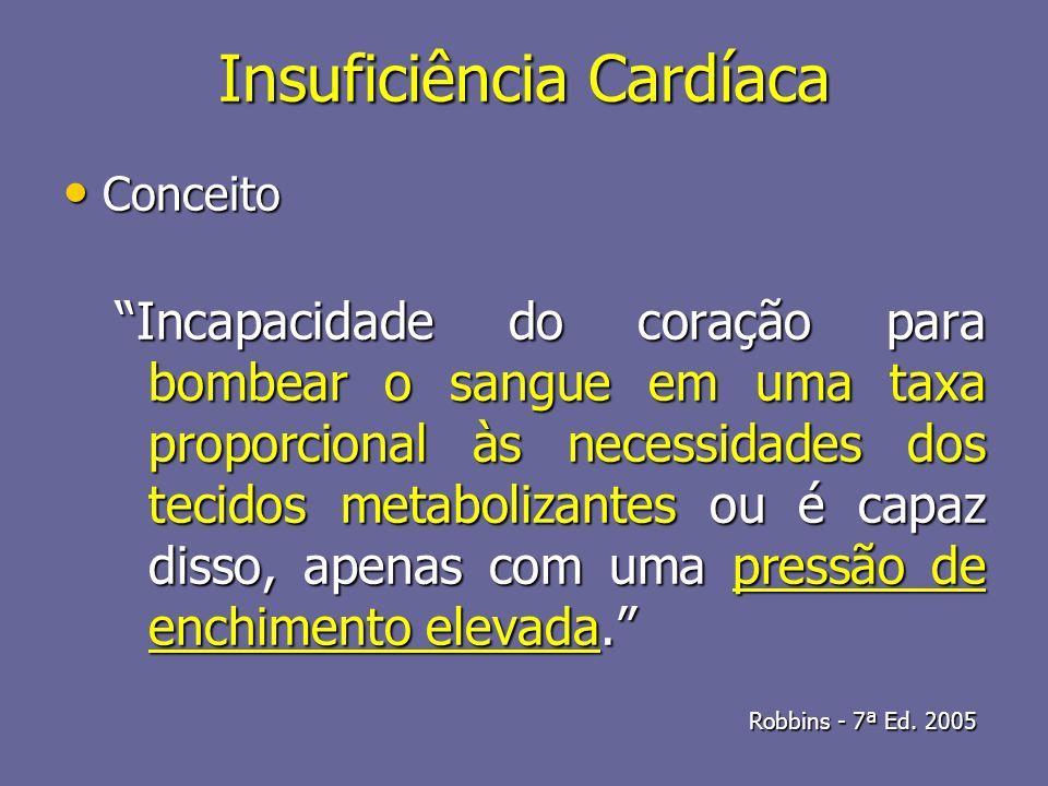 Insuficiência Cardíaca Conceito Conceito Incapacidade do coração para bombear o sangue em uma taxa proporcional às necessidades dos tecidos metaboliza