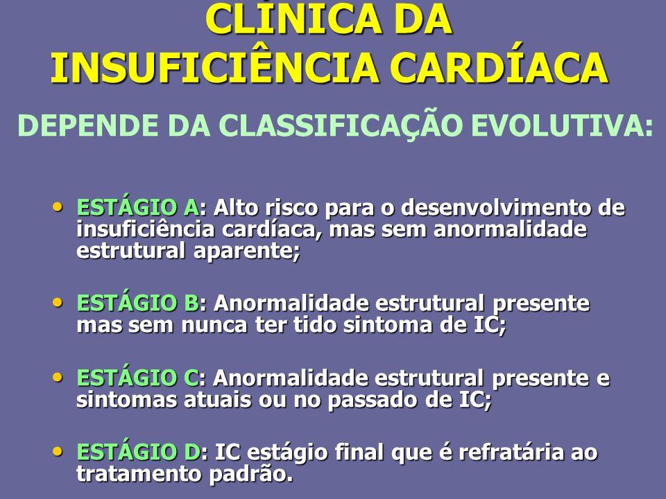 CLÍNICA DA INSUFICIÊNCIA CARDÍACA ESTÁGIO A: Alto risco para o desenvolvimento de insuficiência cardíaca, mas sem anormalidade estrutural aparente; ES