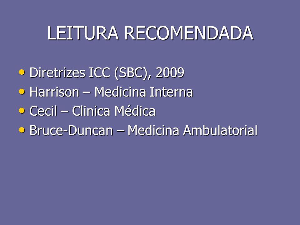 LEITURA RECOMENDADA Diretrizes ICC (SBC), 2009 Diretrizes ICC (SBC), 2009 Harrison – Medicina Interna Harrison – Medicina Interna Cecil – Clinica Médi