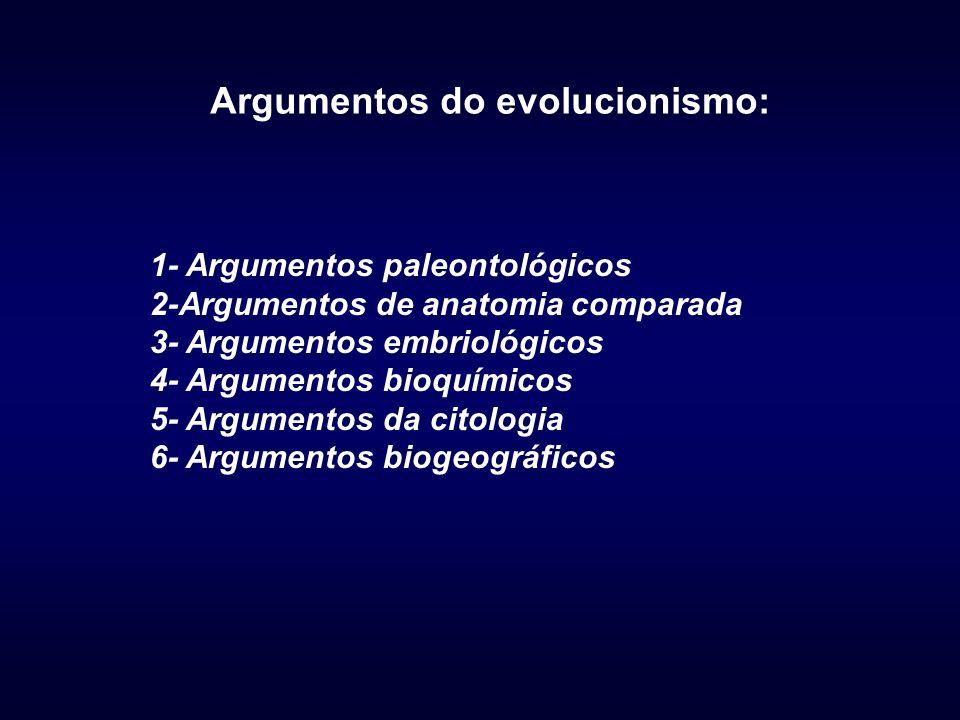 Argumentos do evolucionismo: 1- Argumentos paleontológicos 2-Argumentos de anatomia comparada 3- Argumentos embriológicos 4- Argumentos bioquímicos 5- Argumentos da citologia 6- Argumentos biogeográficos
