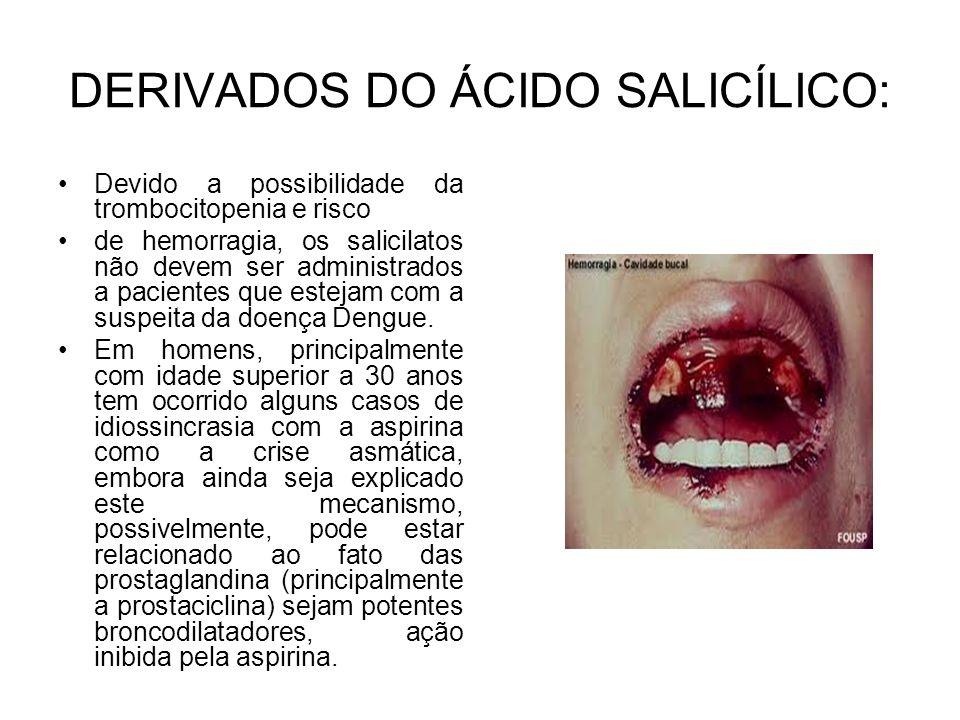 Devido a possibilidade da trombocitopenia e risco de hemorragia, os salicilatos não devem ser administrados a pacientes que estejam com a suspeita da