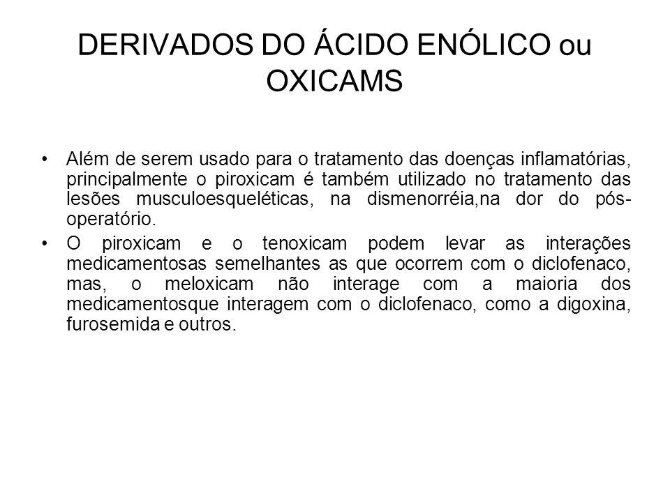 Além de serem usado para o tratamento das doenças inflamatórias, principalmente o piroxicam é também utilizado no tratamento das lesões musculoesquelé