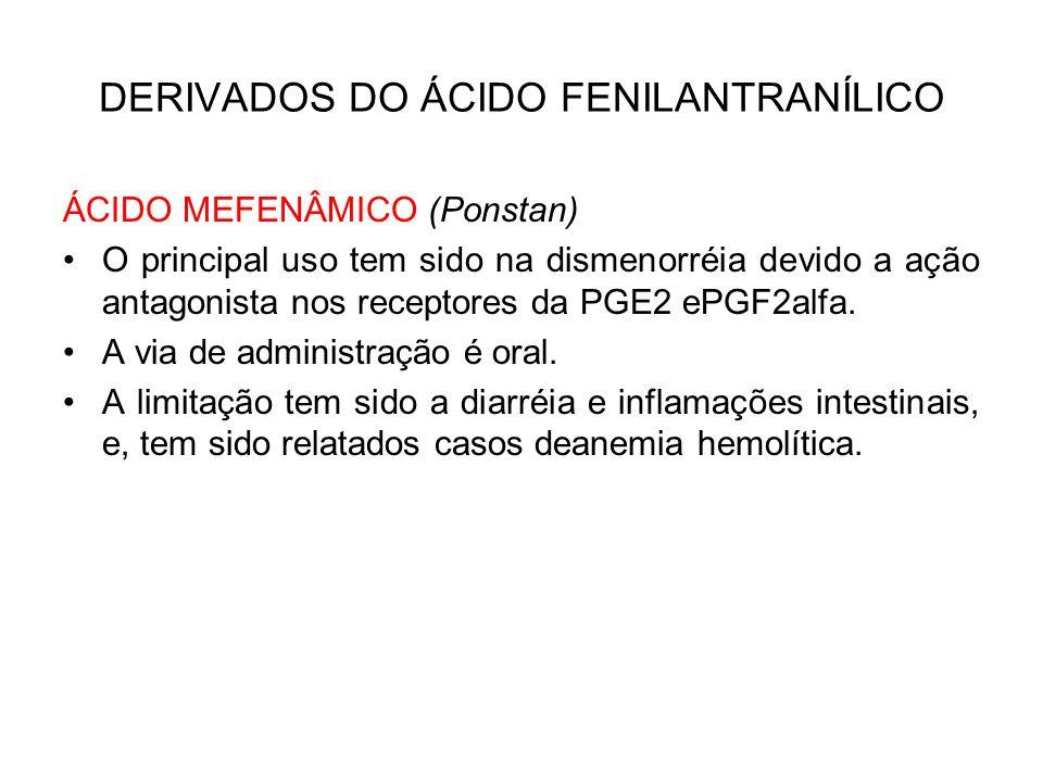 DERIVADOS DO ÁCIDO FENILANTRANÍLICO ÁCIDO MEFENÂMICO (Ponstan) O principal uso tem sido na dismenorréia devido a ação antagonista nos receptores da PG