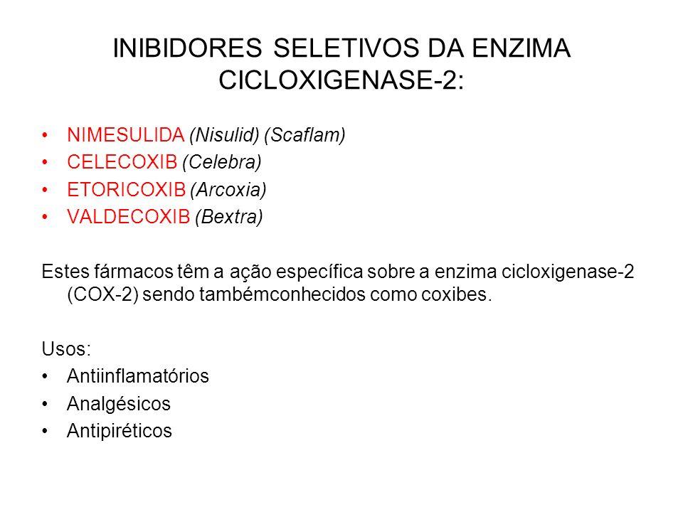 INIBIDORES SELETIVOS DA ENZIMA CICLOXIGENASE-2: NIMESULIDA (Nisulid) (Scaflam) CELECOXIB (Celebra) ETORICOXIB (Arcoxia) VALDECOXIB (Bextra) Estes fárm