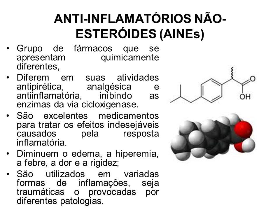 ANTI-INFLAMATÓRIOS NÃO- ESTERÓIDES (AINEs) Grupo de fármacos que se apresentam quimicamente diferentes, Diferem em suas atividades antipirética, analg