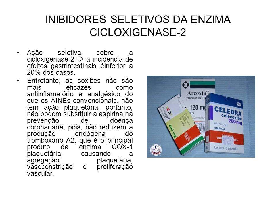 INIBIDORES SELETIVOS DA ENZIMA CICLOXIGENASE-2 Ação seletiva sobre a cicloxigenase-2 a incidência de efeitos gastrintestinais éinferior a 20% dos caso