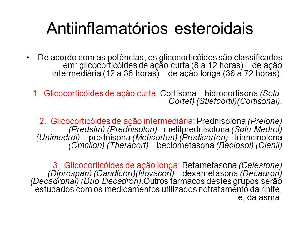 De acordo com as potências, os glicocorticóides são classificados em: glicocorticóides de ação curta (8 a 12 horas) – de ação intermediária (12 a 36 h