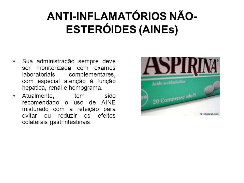 ANTI-INFLAMATÓRIOS NÃO- ESTERÓIDES (AINEs) Sua administração sempre deve ser monitorizada com exames laboratoriais complementares, com especial atençã