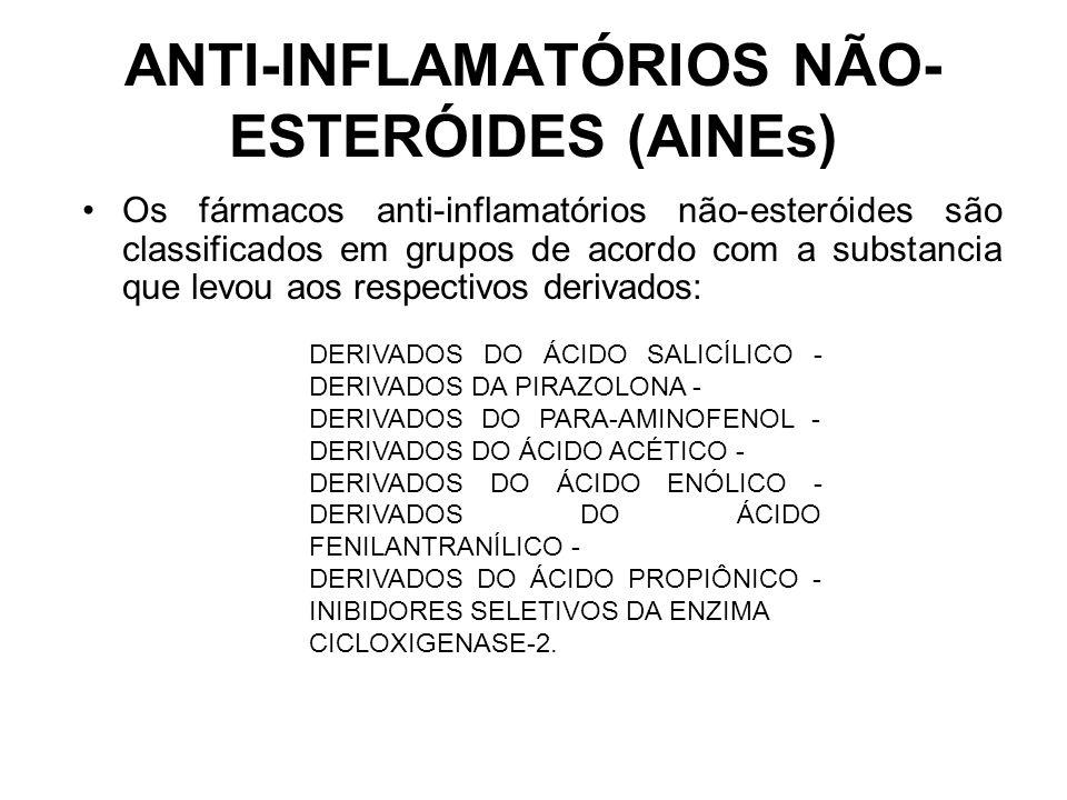 Os fármacos anti-inflamatórios não-esteróides são classificados em grupos de acordo com a substancia que levou aos respectivos derivados: ANTI-INFLAMA