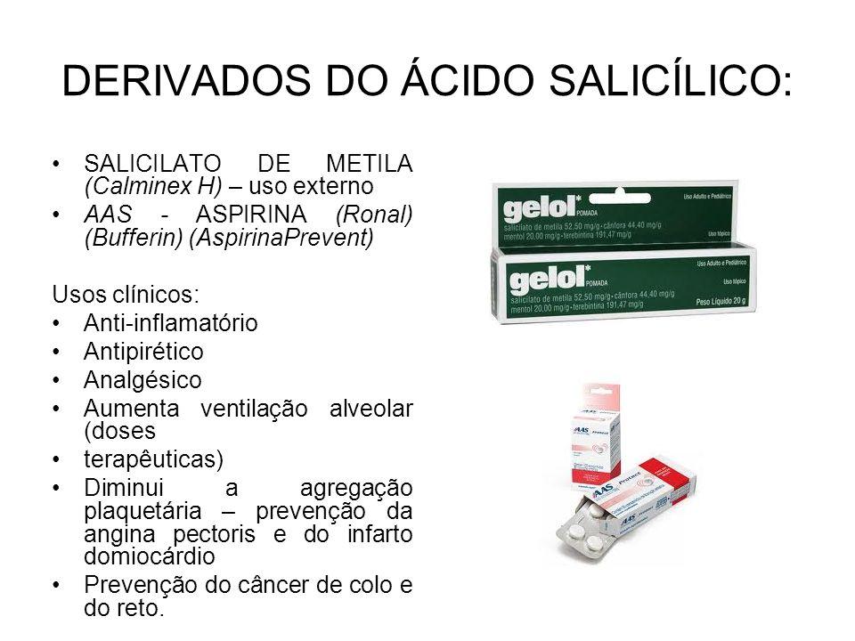 DERIVADOS DO ÁCIDO SALICÍLICO: SALICILATO DE METILA (Calminex H) – uso externo AAS - ASPIRINA (Ronal) (Bufferin) (AspirinaPrevent) Usos clínicos: Anti