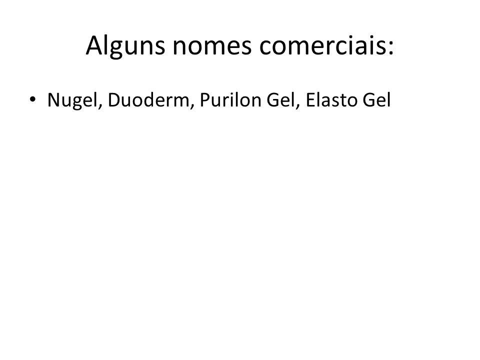 Alguns nomes comerciais: Nugel, Duoderm, Purilon Gel, Elasto Gel