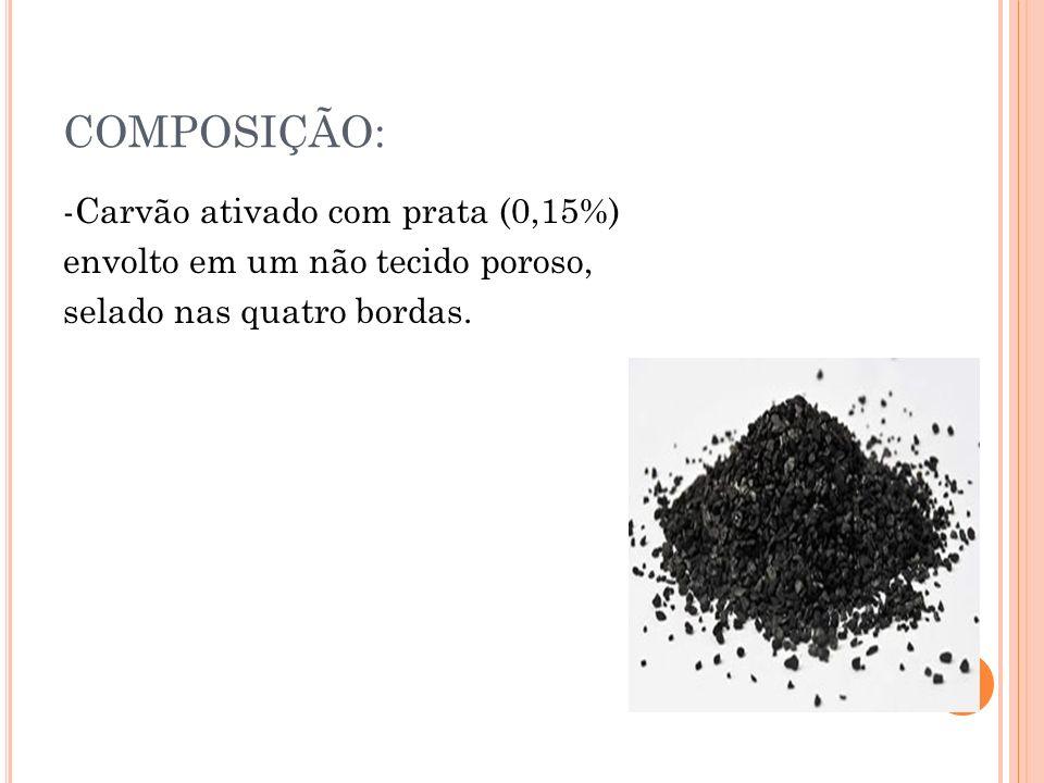 COMPOSIÇÃO: -Carvão ativado com prata (0,15%) envolto em um não tecido poroso, selado nas quatro bordas.
