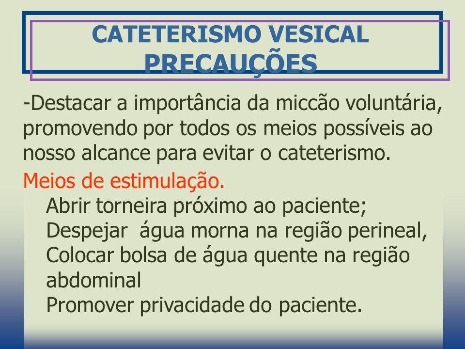 CATETERISMO VESICAL PRECAUÇÕES -Destacar a importância da miccão voluntária, promovendo por todos os meios possíveis ao nosso alcance para evitar o ca