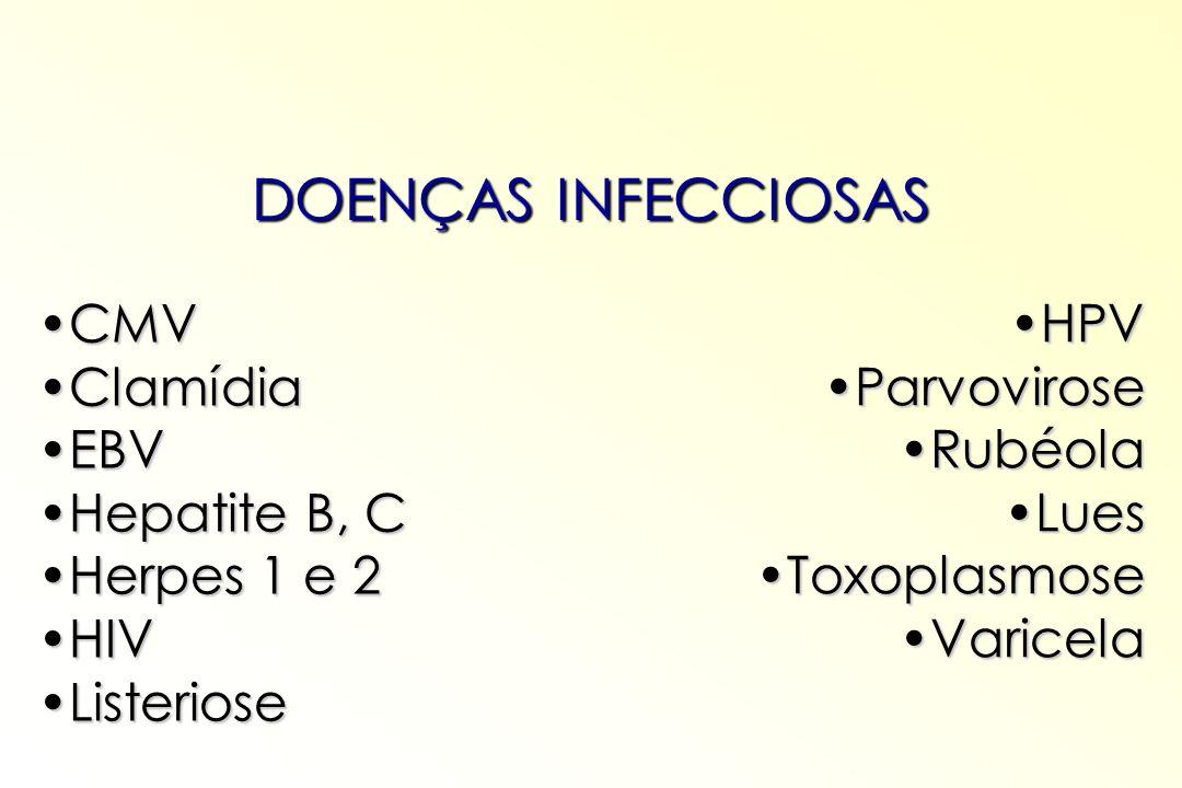 DOENÇAS INFECCIOSAS CMVCMV ClamídiaClamídia EBVEBV Hepatite B, CHepatite B, C Herpes 1 e 2Herpes 1 e 2 HIVHIV ListerioseListeriose HPVHPV ParvoviroseP