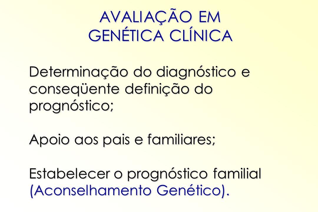 AVALIAÇÃO EM GENÉTICA CLÍNICA Determinação do diagnóstico e conseqüente definição do prognóstico; Apoio aos pais e familiares; Estabelecer o prognósti
