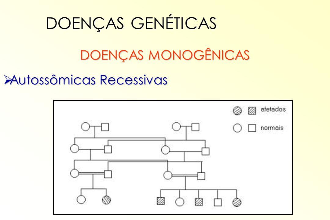 DOENÇAS MONOGÊNICAS Autossômicas Recessivas Autossômicas Recessivas DOENÇAS GENÉTICAS