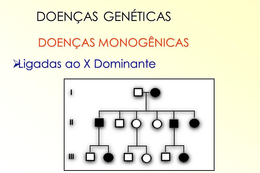 DOENÇAS MONOGÊNICAS DOENÇAS MONOGÊNICAS Ligadas ao X Dominante Ligadas ao X Dominante DOENÇAS GENÉTICAS