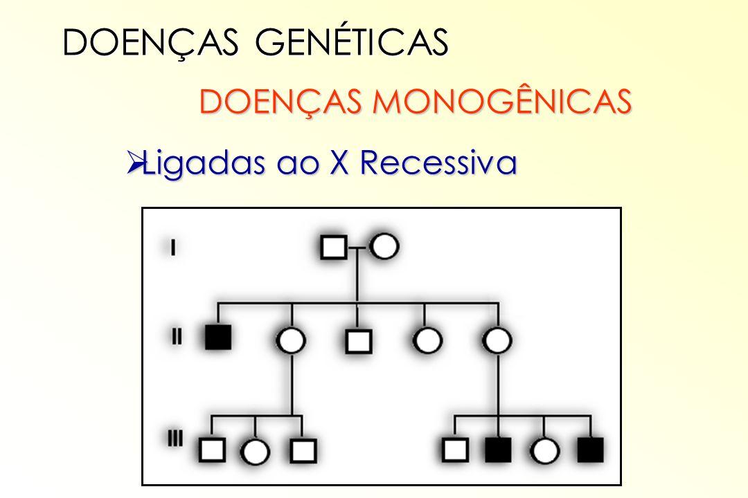 DOENÇAS MONOGÊNICAS DOENÇAS MONOGÊNICAS Ligadas ao X Recessiva Ligadas ao X Recessiva DOENÇAS GENÉTICAS