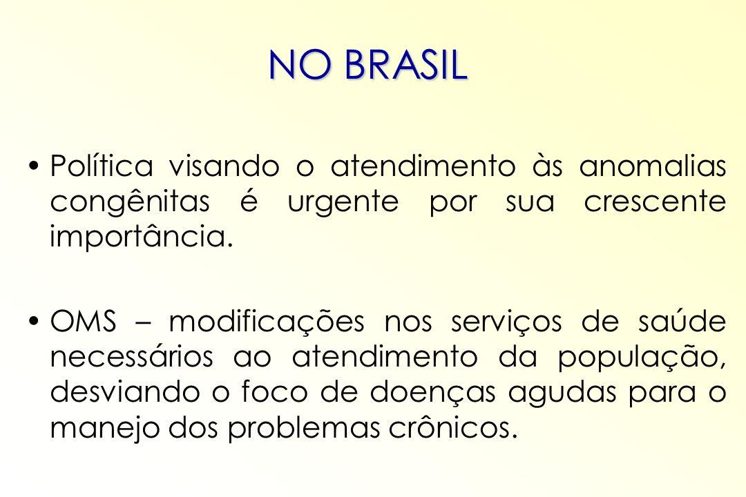 NO BRASIL Política visando o atendimento às anomalias congênitas é urgente por sua crescente importância. OMS – modificações nos serviços de saúde nec