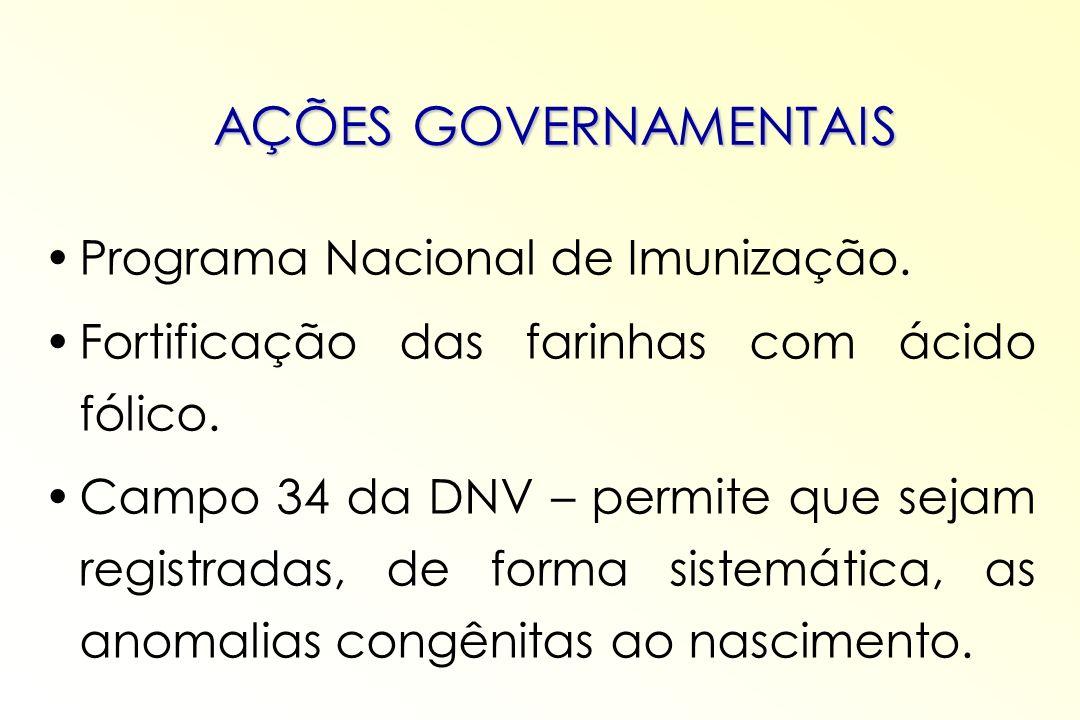 AÇÕES GOVERNAMENTAIS Programa Nacional de Imunização. Fortificação das farinhas com ácido fólico. Campo 34 da DNV – permite que sejam registradas, de