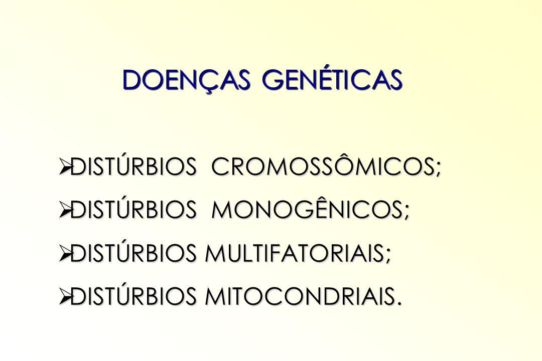 DOENÇAS GENÉTICAS DISTÚRBIOS CROMOSSÔMICOS; DISTÚRBIOS CROMOSSÔMICOS; DISTÚRBIOS MONOGÊNICOS; DISTÚRBIOS MONOGÊNICOS; DISTÚRBIOS MULTIFATORIAIS; DISTÚ