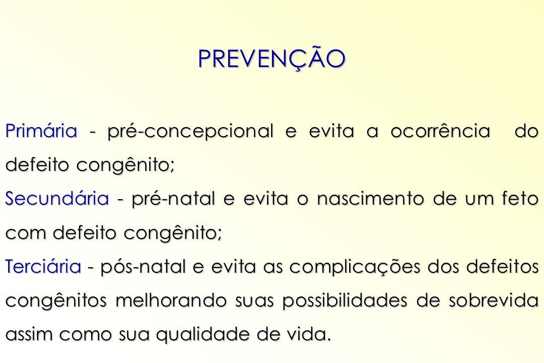 PREVENÇÃO Primária - pré-concepcional e evita a ocorrência do defeito congênito; Secundária - pré-natal e evita o nascimento de um feto com defeito co