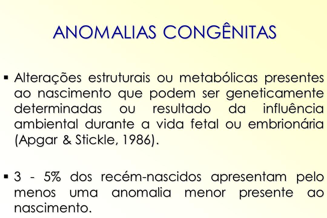 ANOMALIAS CONGÊNITAS Alterações estruturais ou metabólicas presentes ao nascimento que podem ser geneticamente determinadas ou resultado da influência
