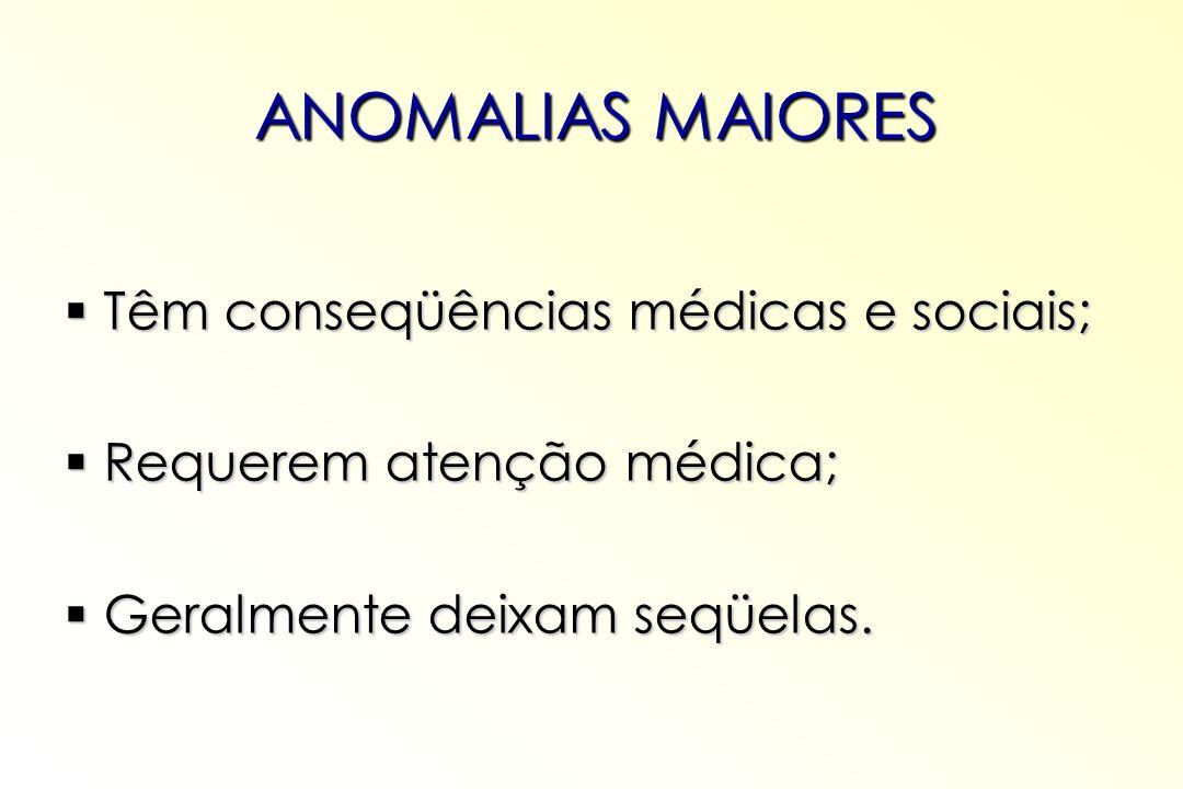 ANOMALIAS MAIORES Têm conseqüências médicas e sociais; Têm conseqüências médicas e sociais; Requerem atenção médica; Requerem atenção médica; Geralmen