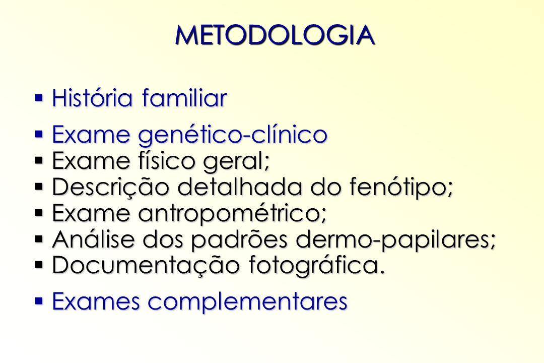 METODOLOGIA História familiar História familiar Exame genético-clínico Exame genético-clínico Exame físico geral; Exame físico geral; Descrição detalh