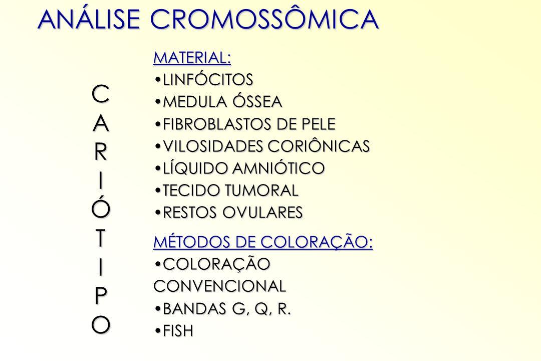 ANÁLISE CROMOSSÔMICA MATERIAL: LINFÓCITOSLINFÓCITOS MEDULA ÓSSEAMEDULA ÓSSEA FIBROBLASTOS DE PELEFIBROBLASTOS DE PELE VILOSIDADES CORIÔNICASVILOSIDADE