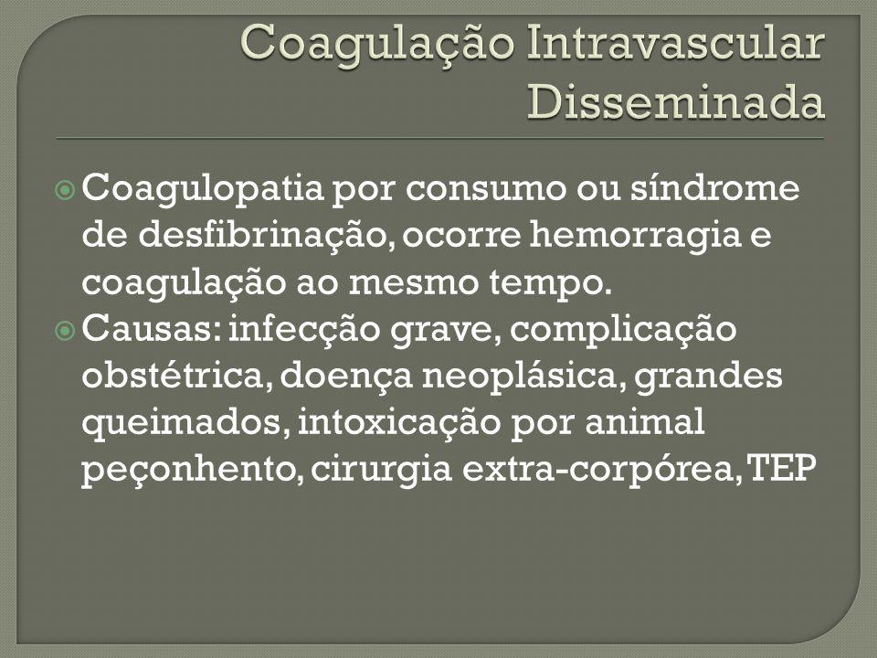 Lesão do endotélio Liberação da tromboplastina tissular Ativação do fator X Diminuição do fluxo sanguineo para os tecidos e anticoagulação, hemorragia.
