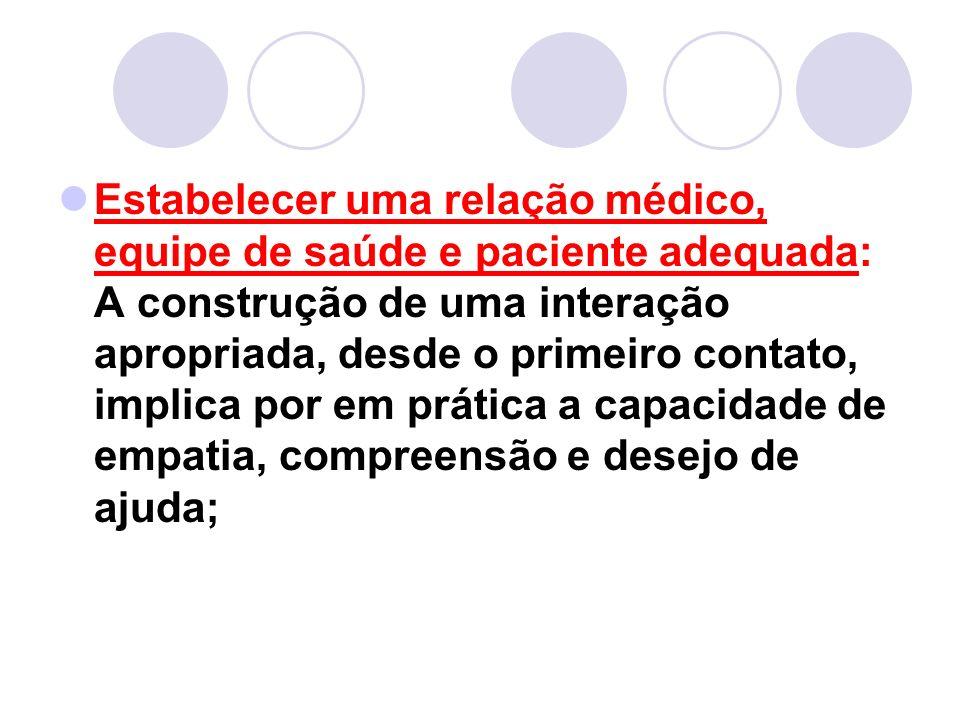 Estabelecer uma relação médico, equipe de saúde e paciente adequada: A construção de uma interação apropriada, desde o primeiro contato, implica por e