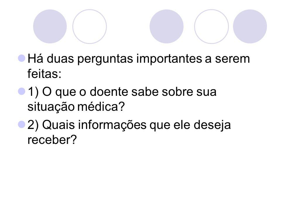 Há duas perguntas importantes a serem feitas: 1) O que o doente sabe sobre sua situação médica? 2) Quais informações que ele deseja receber?