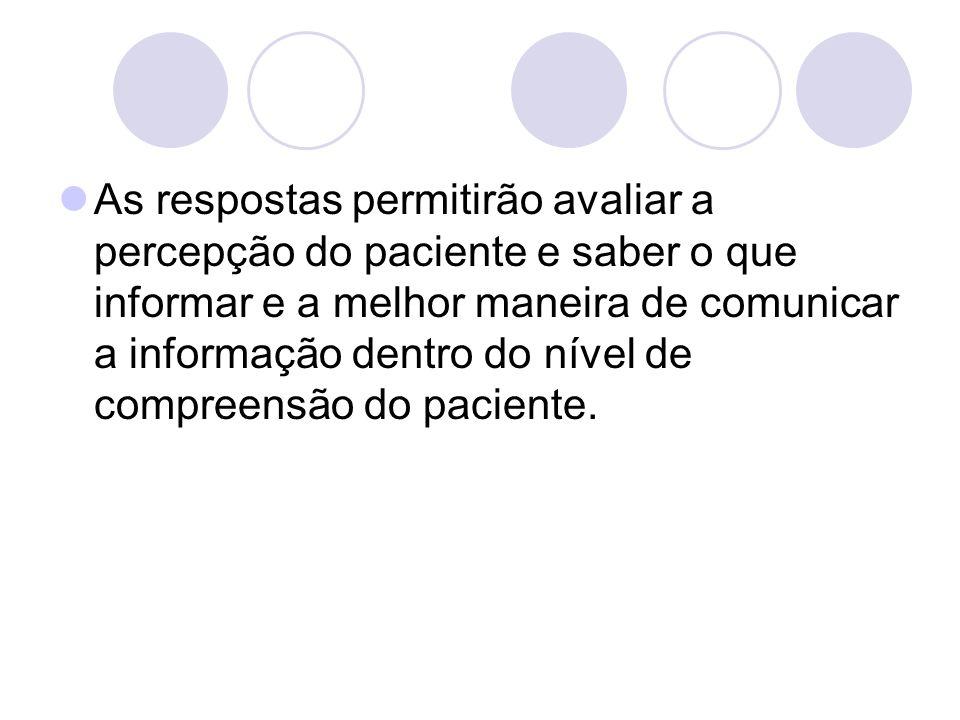 As respostas permitirão avaliar a percepção do paciente e saber o que informar e a melhor maneira de comunicar a informação dentro do nível de compree