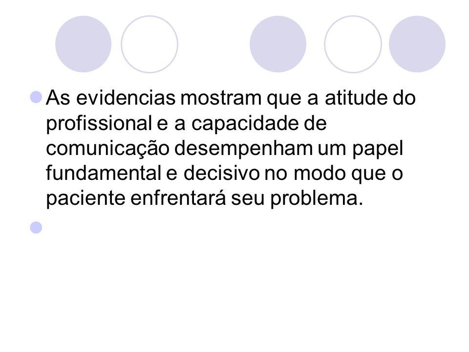 As evidencias mostram que a atitude do profissional e a capacidade de comunicação desempenham um papel fundamental e decisivo no modo que o paciente e