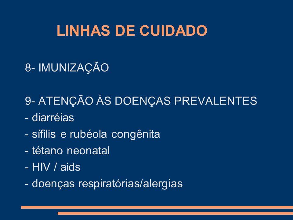 LINHAS DE CUIDADO 8- IMUNIZAÇÃO 9- ATENÇÃO ÀS DOENÇAS PREVALENTES - diarréias - sífilis e rubéola congênita - tétano neonatal - HIV / aids - doenças r
