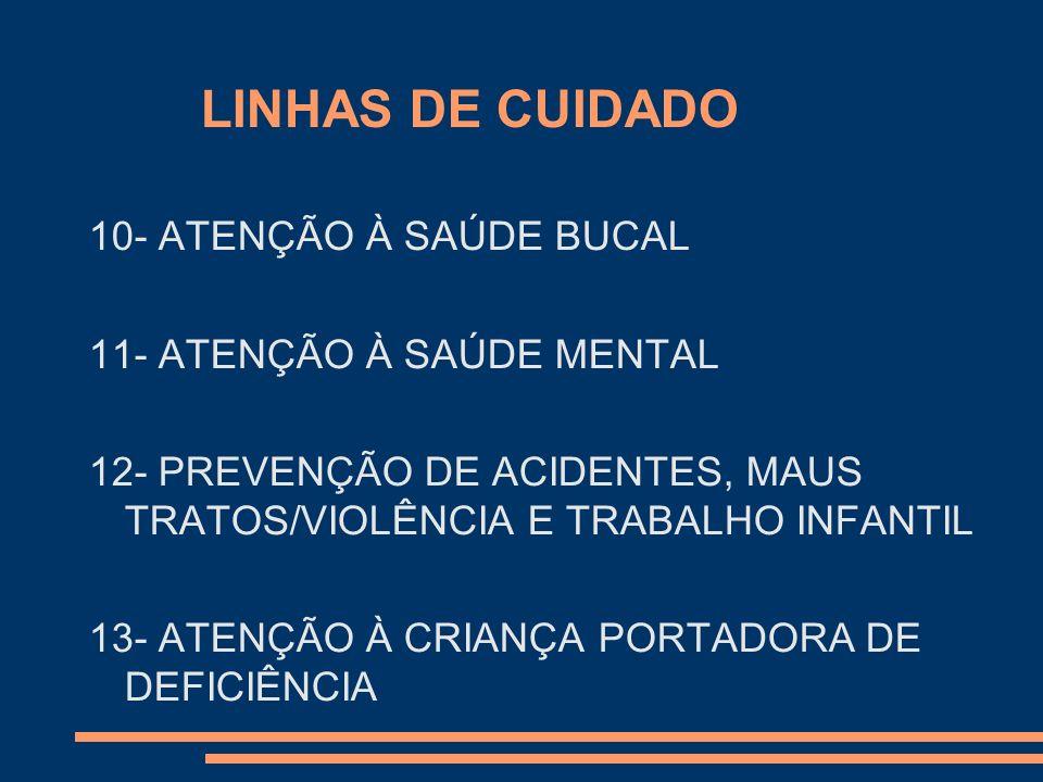 LINHAS DE CUIDADO 10- ATENÇÃO À SAÚDE BUCAL 11- ATENÇÃO À SAÚDE MENTAL 12- PREVENÇÃO DE ACIDENTES, MAUS TRATOS/VIOLÊNCIA E TRABALHO INFANTIL 13- ATENÇ