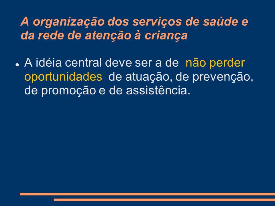 A organização dos serviços de saúde e da rede de atenção à criança A idéia central deve ser a de não perder oportunidades de atuação, de prevenção, de